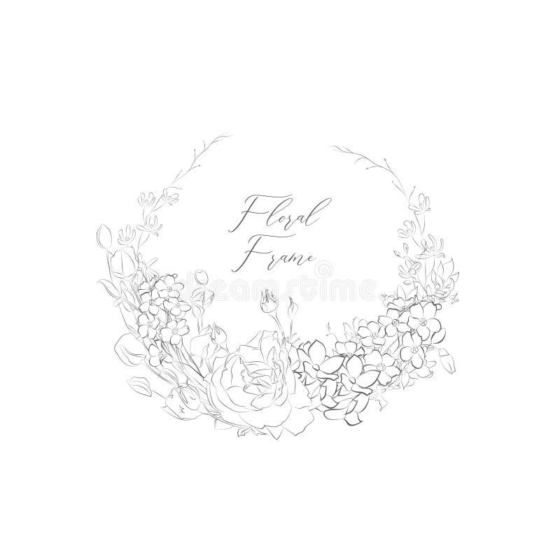 Рамка вектора чувствительная Floristic с цветками, ветвями иллюстрация штока