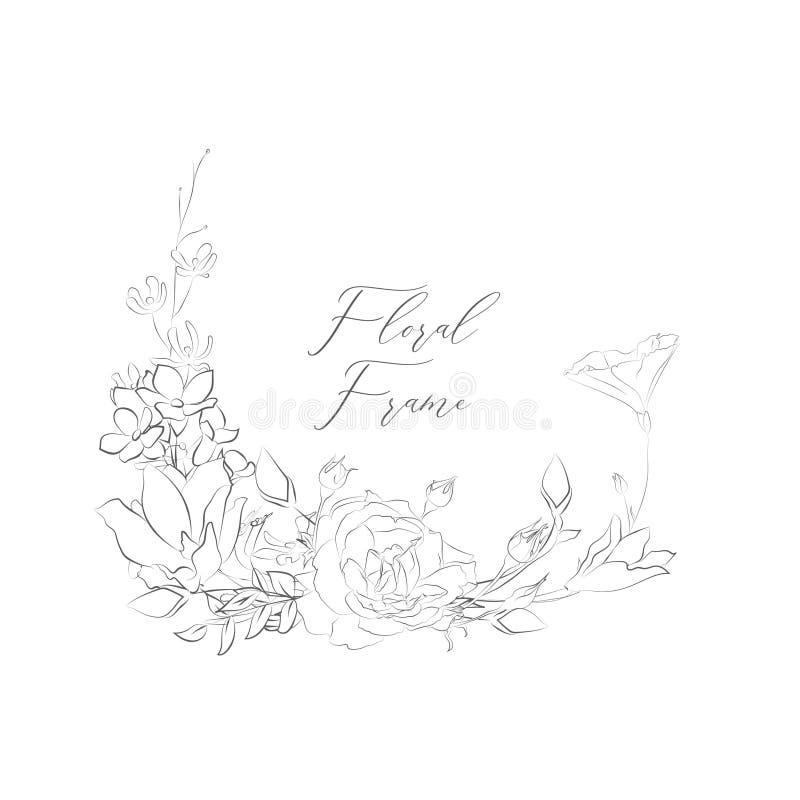 Рамка вектора чувствительная Floristic с цветками, ветвями бесплатная иллюстрация