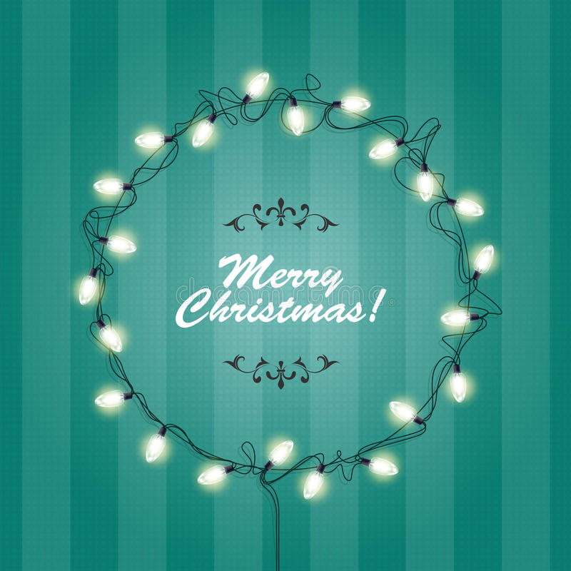 Рамка венка светов рождества - круглые праздничные света иллюстрация вектора