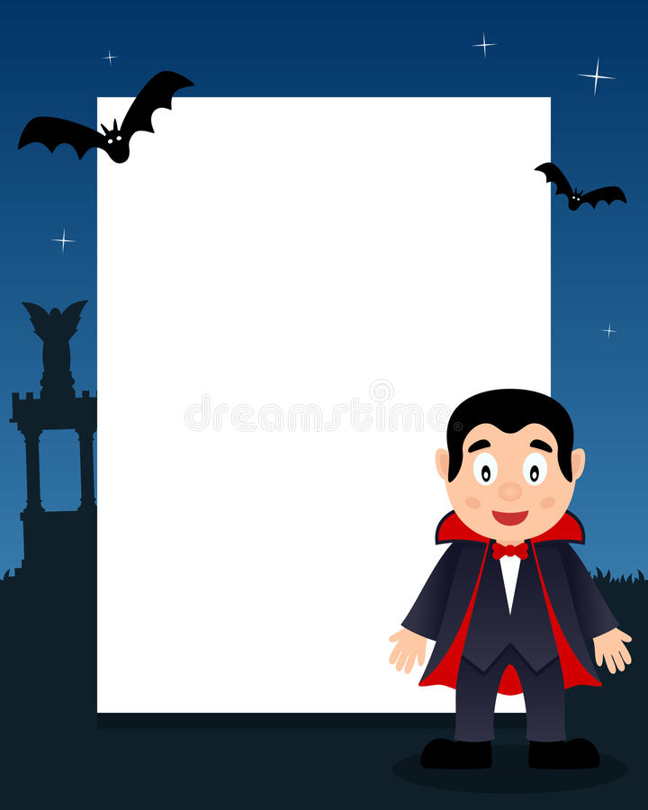 Рамка вертикали Дракула счастливая хеллоуина иллюстрация вектора