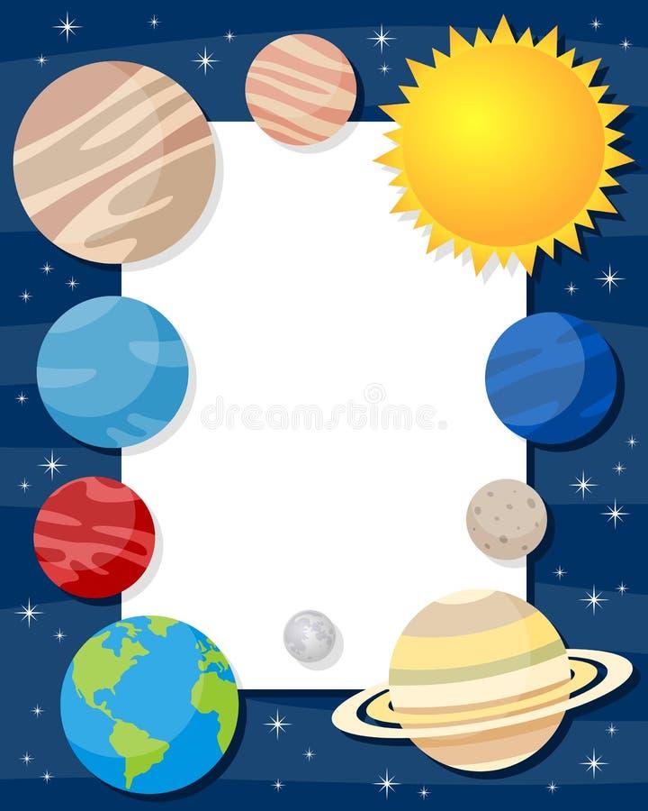Рамка вертикали планет солнечной системы иллюстрация вектора