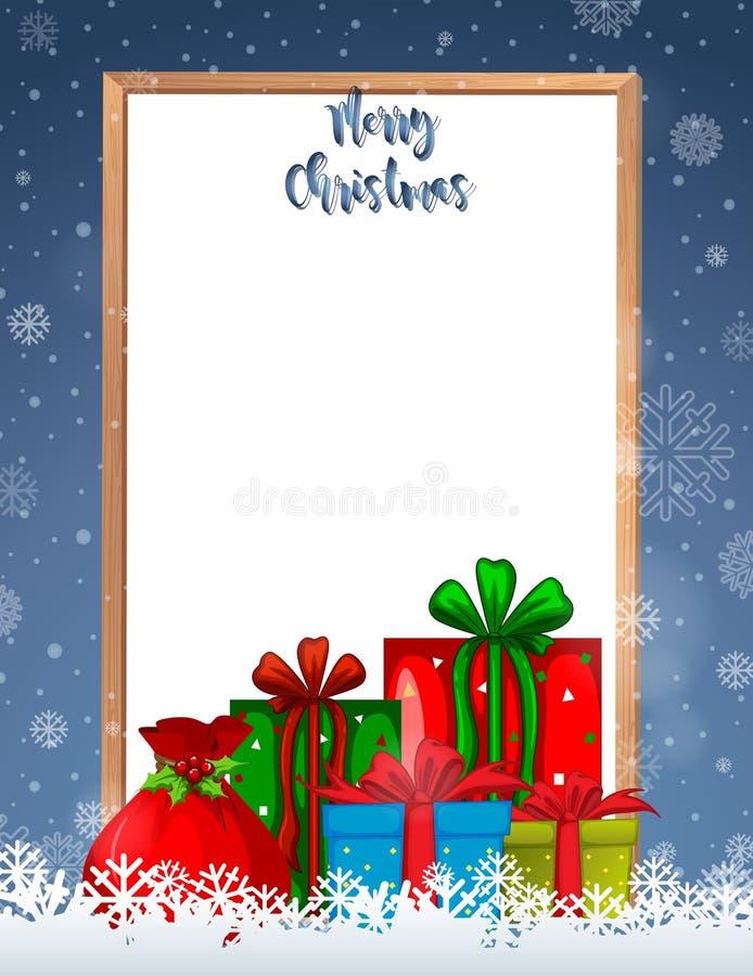 Рамка веселого рождества с настоящими моментами иллюстрация штока