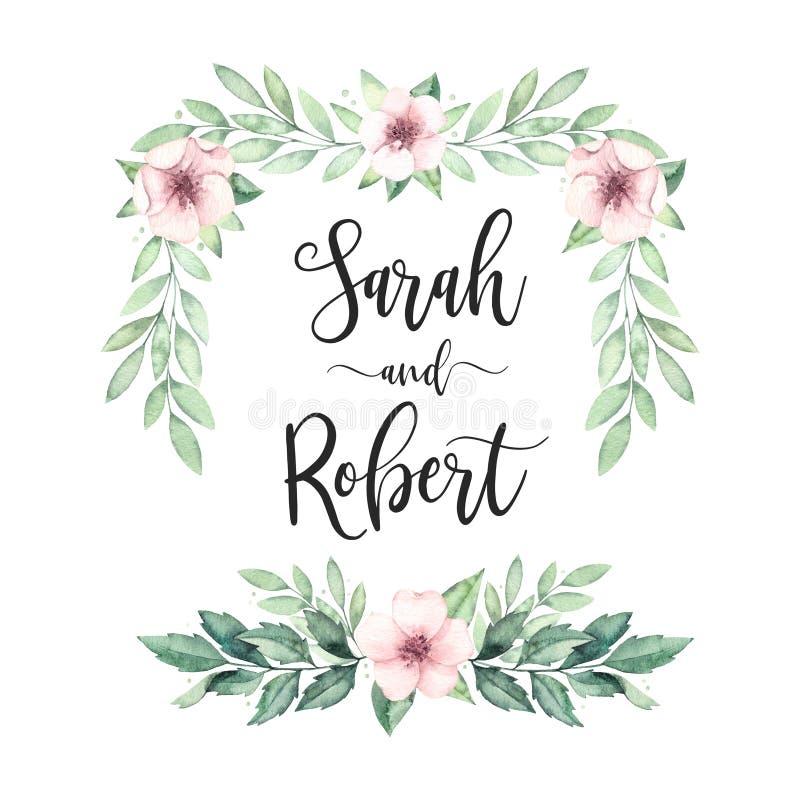 Рамка весны Приглашение свадьбы акварели Pre сделанное ботаническое бесплатная иллюстрация