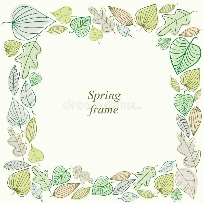 Рамка весны сделанная из листьев бесплатная иллюстрация