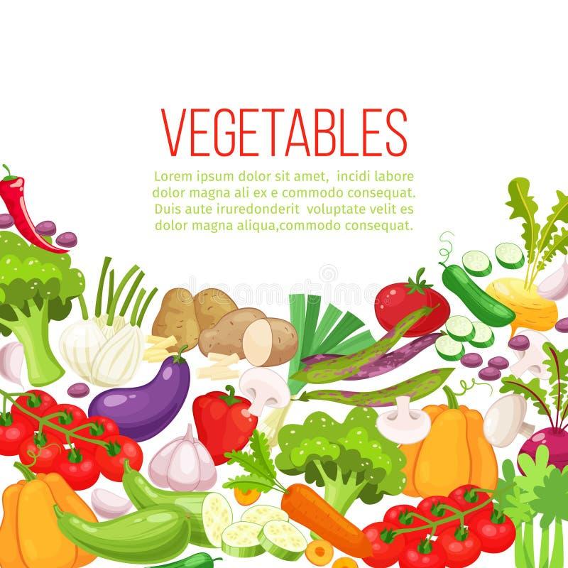 Рамка взгляд сверху овощей Дизайн меню рынка фермеров Плакат натуральных продуктов красочный Красочное органическое знамя с иллюстрация штока