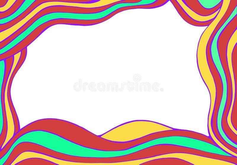 Рамка волн красочной абстрактной фантазии вектора нарисованная вручную иллюстрация вектора