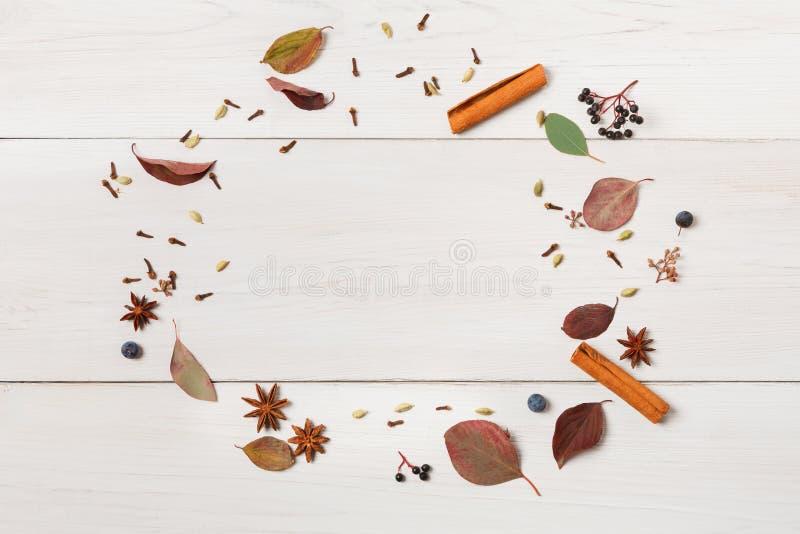 Рамка высушенных цветков на белой древесине, взгляд сверху осени стоковые изображения rf