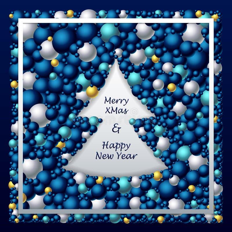Рамка в форме рождественской елки от шариков в синем серебряном золоте иллюстрация вектора
