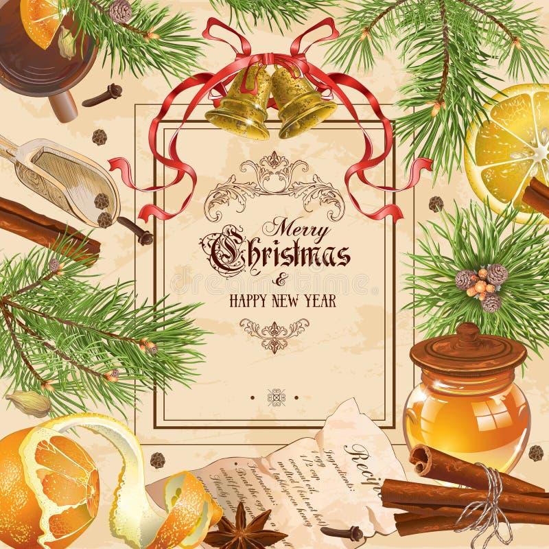 Рамка года сбора винограда рождества иллюстрация штока