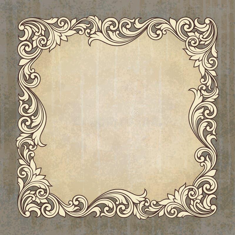 Рамка граници вектора ретро на предпосылке grunge бесплатная иллюстрация