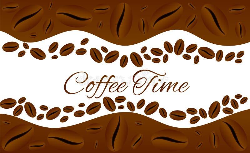 Рамка границы квадрата времени кофе изолированная на белизне иллюстрация штока