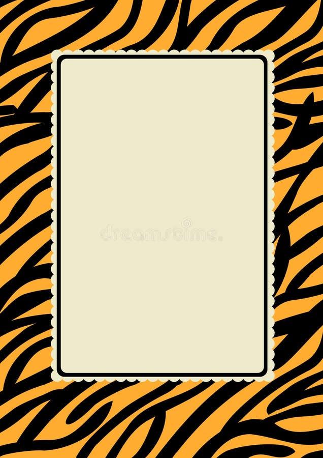 Рамка границы печати кожи тигра иллюстрация вектора