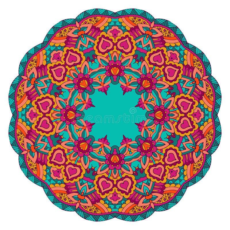 Рамка границы этнической безшовной мандалы круглая флористическая иллюстрация штока