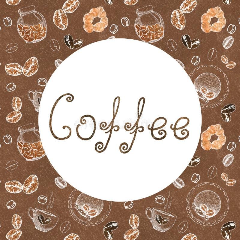 Рамка для концепции дизайна кофе с изображением кофе, чашек, кренов, консервных банок и писем Эскиз, графики для печатей дизайна бесплатная иллюстрация