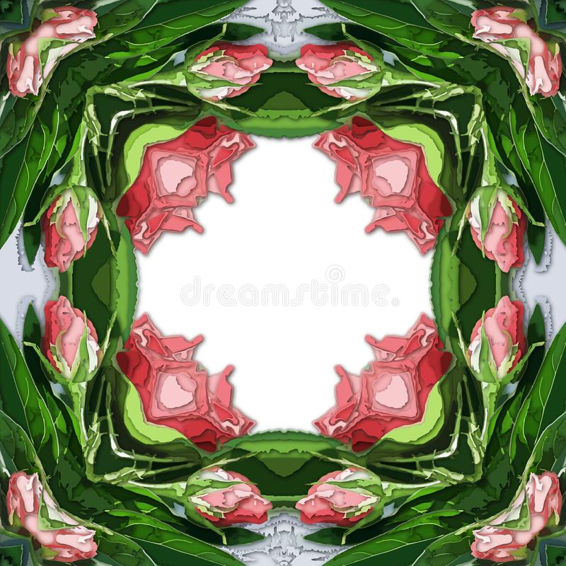 Рамка для поздравительной открытки, свадьба, день рождения Яркий цвет флористический стоковая фотография rf