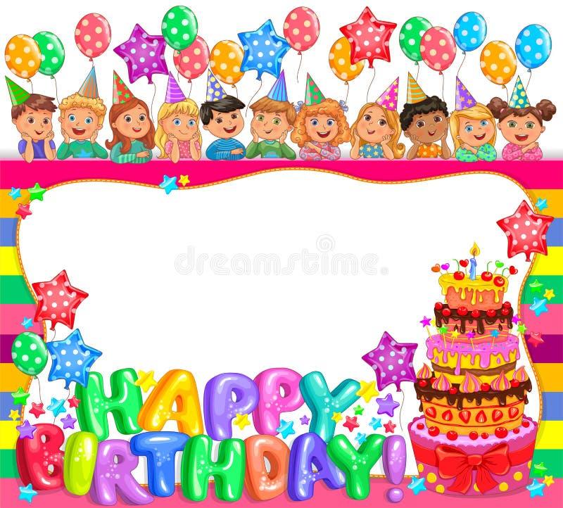 Рамка дня рождения яркая с тортом и милыми детьми бесплатная иллюстрация