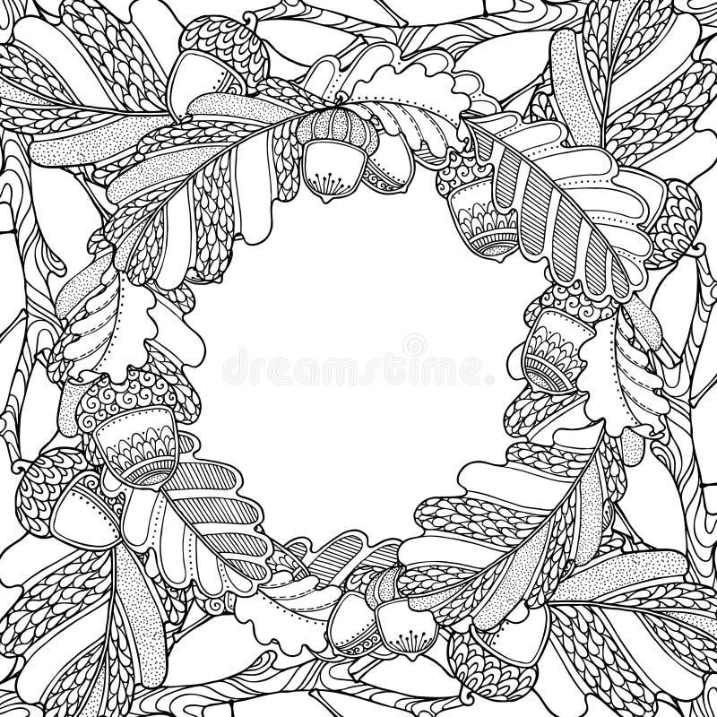 Рамка леса природы волшебная с дубом иллюстрация штока