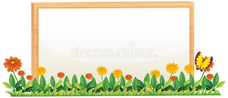 Рамка естественного цветка деревянная иллюстрация штока