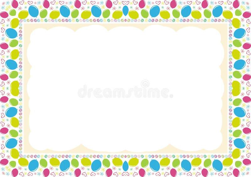 Рамка детей - граница с сделанный от расположения воздушных шаров иллюстрация штока