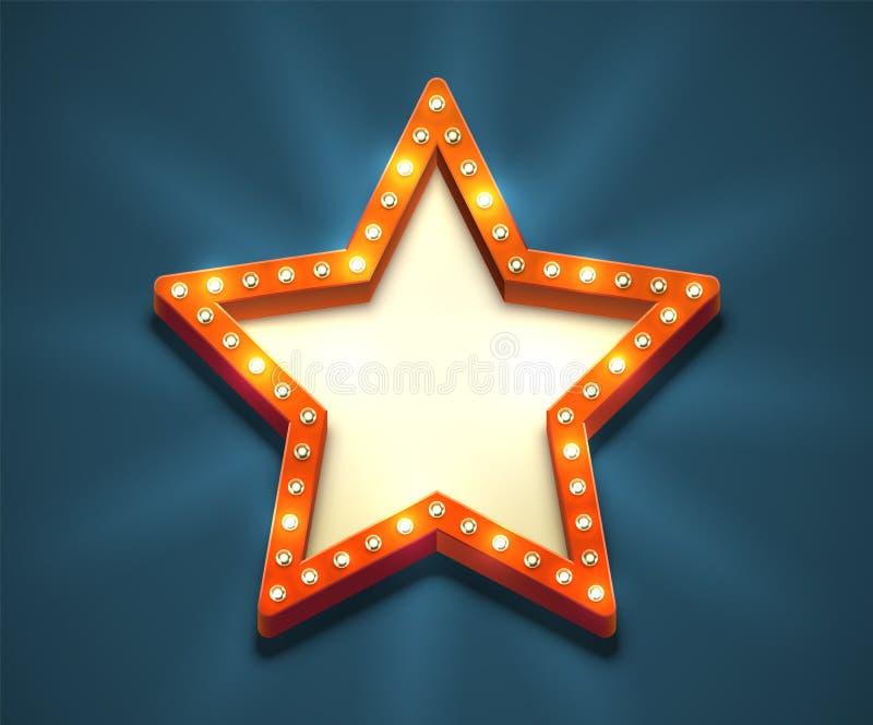 Рамка звезды электрической лампочки иллюстрация штока