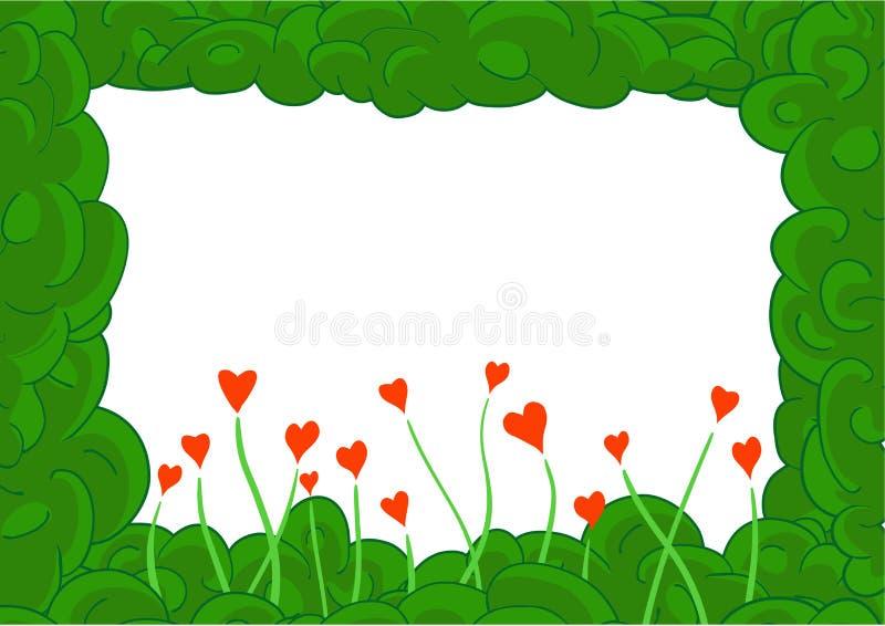 Рамка зеленого завода с сердцами бесплатная иллюстрация