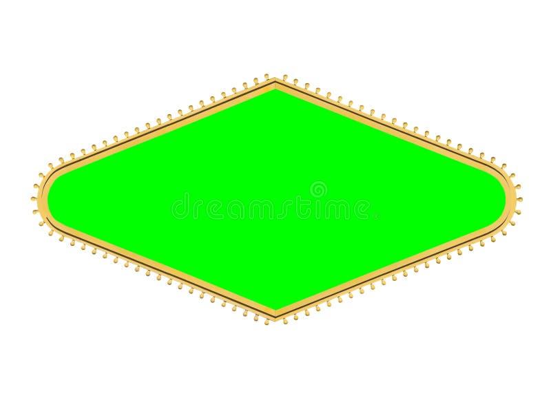 Рамка знака диаманта шарика стиля Лас-Вегас с зеленым цветом Chroma стоковое изображение