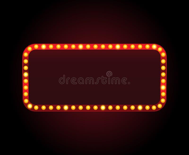 Рамка знака театра вектора прямоугольника с светами иллюстрация штока