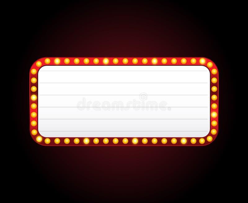 Рамка знака театра вектора прямоугольника с светами иллюстрация вектора