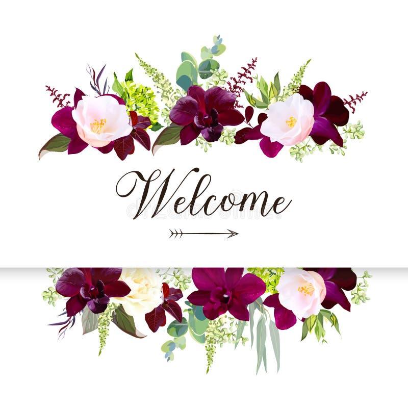Рамка знамени роскошного дизайна вектора цветков падения горизонтальная бесплатная иллюстрация