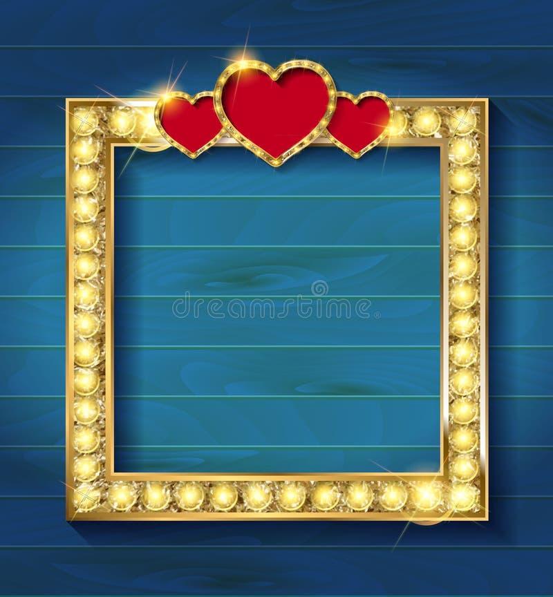 Рамка золота в кинематографическом стиле иллюстрация вектора