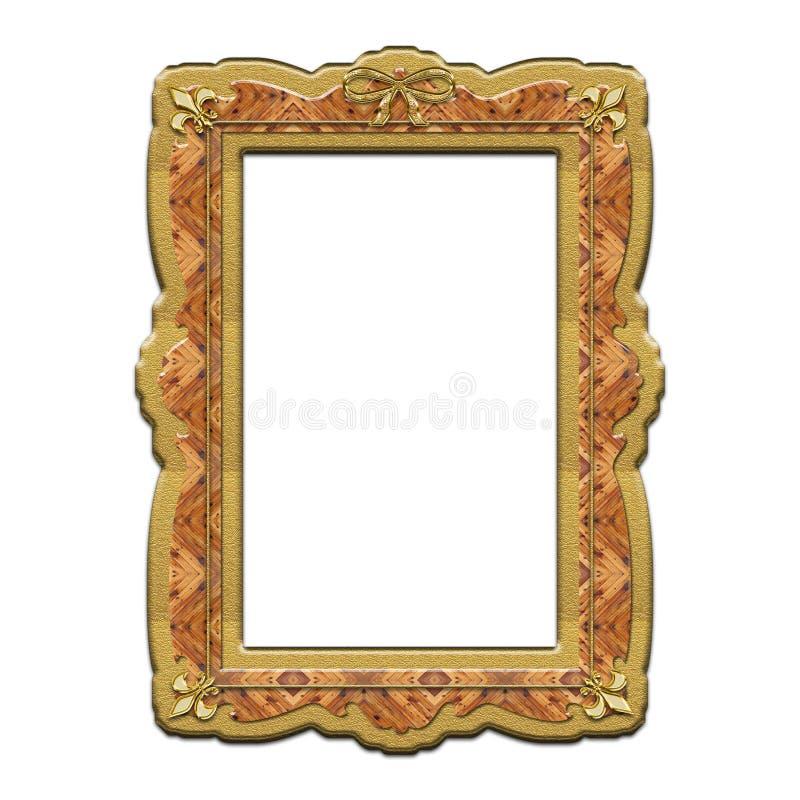 Рамка золота деревянная с лилиями иллюстрация вектора