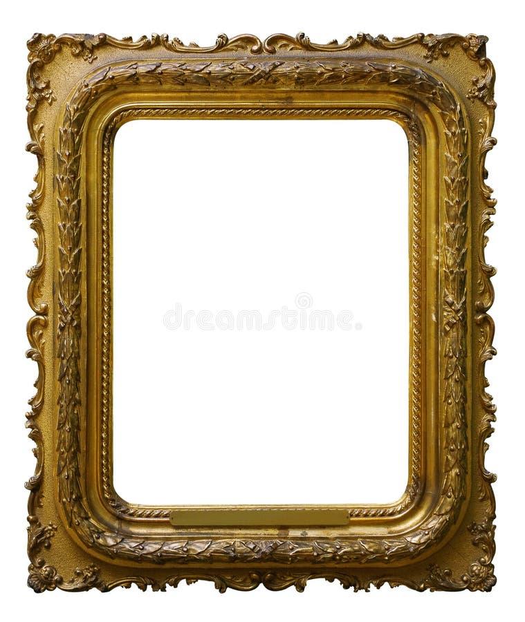 Рамка золота изображения деревянная богато украшенная для дизайна на изолированной предпосылке стоковые фото