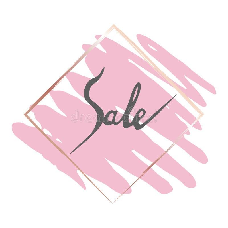 Рамка золота продаж и розовая щетка иллюстрация штока