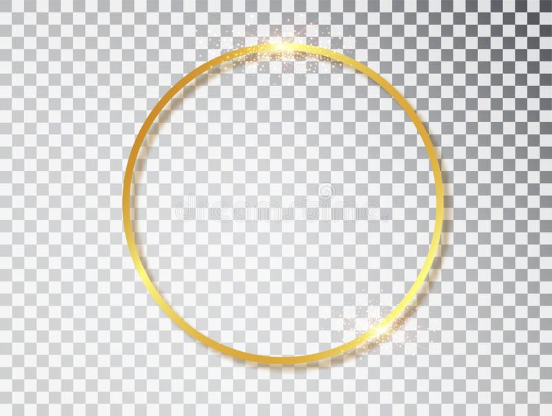 Рамка золота сияющая накаляя винтажная с тенями изолированными на прозрачной предпосылке Золотая роскошная реалистическая круглая иллюстрация штока