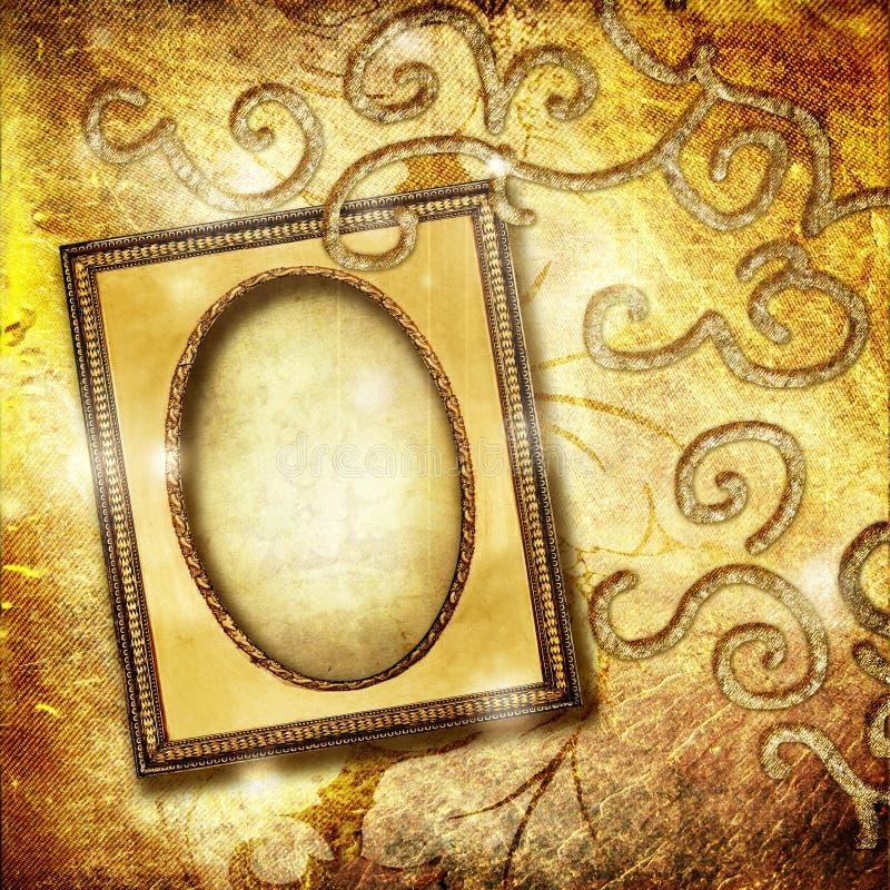 рамка золотистая иллюстрация штока