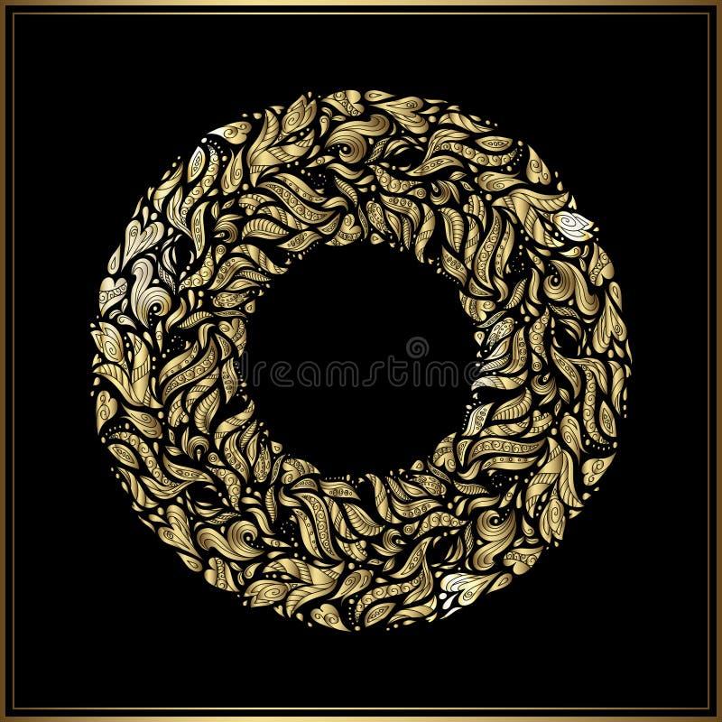 Рамка золота круглая на черной предпосылке Украшение вектора флористическое сделанное от форм свирли Приветствие, карточка пригла бесплатная иллюстрация