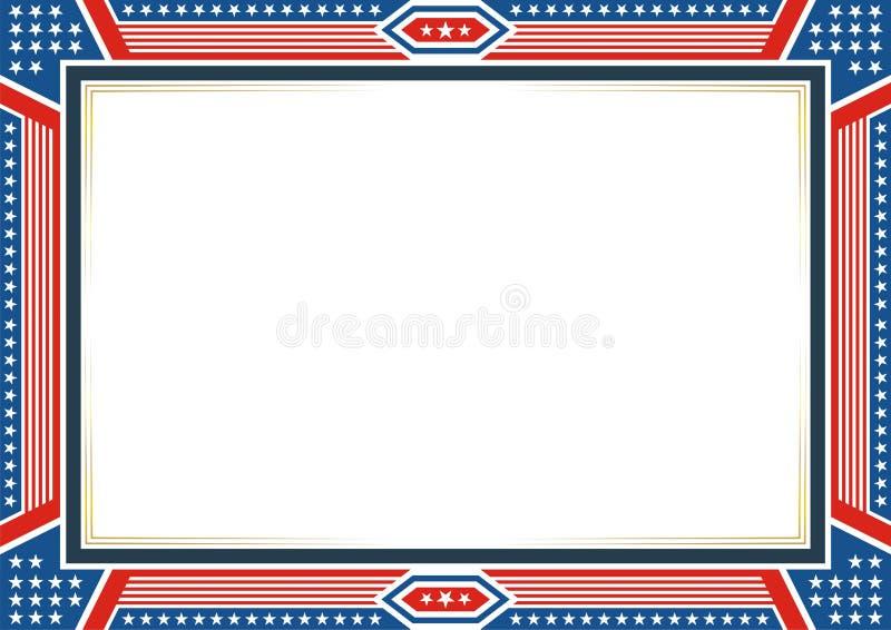 Рамка или граница, с патриотическими стилем американского флага и дизайном цвета иллюстрация вектора