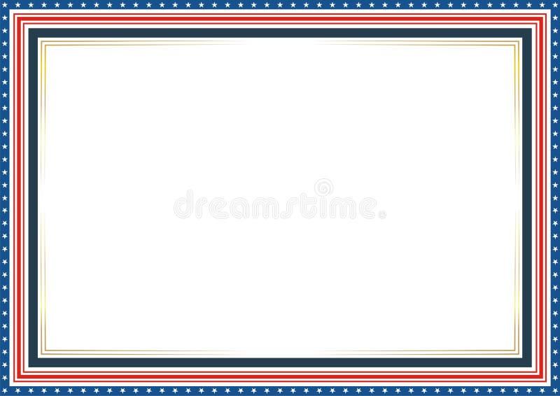 Рамка или граница, с патриотическими стилем американского флага и дизайном цвета иллюстрация штока