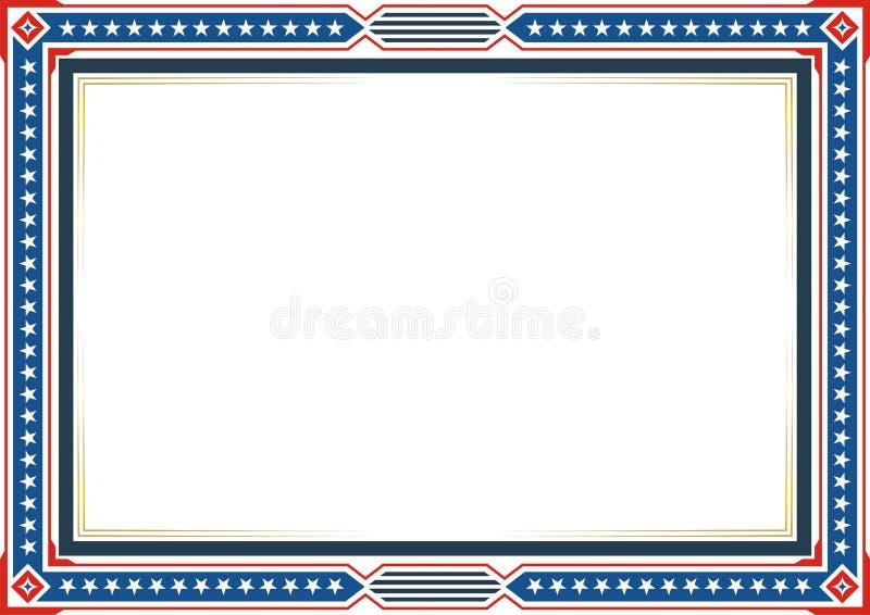 Рамка или граница, с патриотическими стилем американского флага и дизайном цвета бесплатная иллюстрация