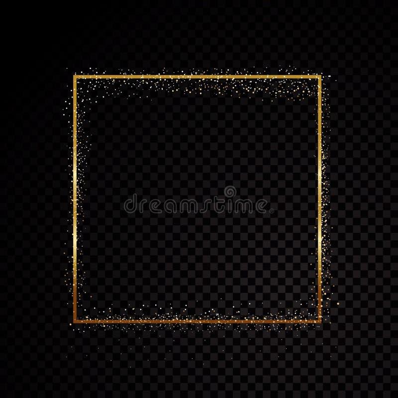 Рамка искры прямоугольника золотая Изолированный на черной прозрачной предпосылке также вектор иллюстрации притяжки corel иллюстрация штока