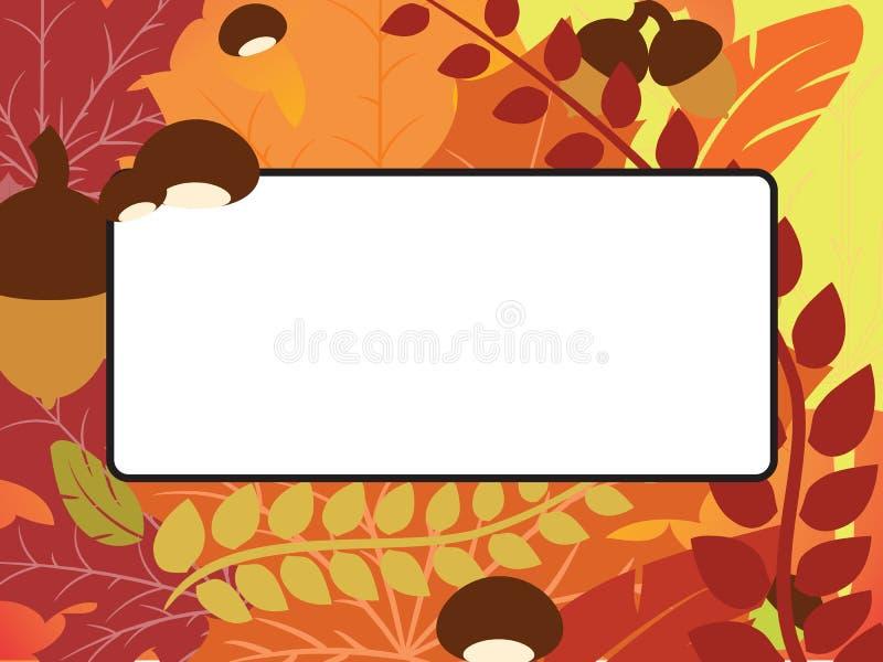 Рамка листьев, жолудя и каштана падения с предпосылкой пустого пространства иллюстрация штока