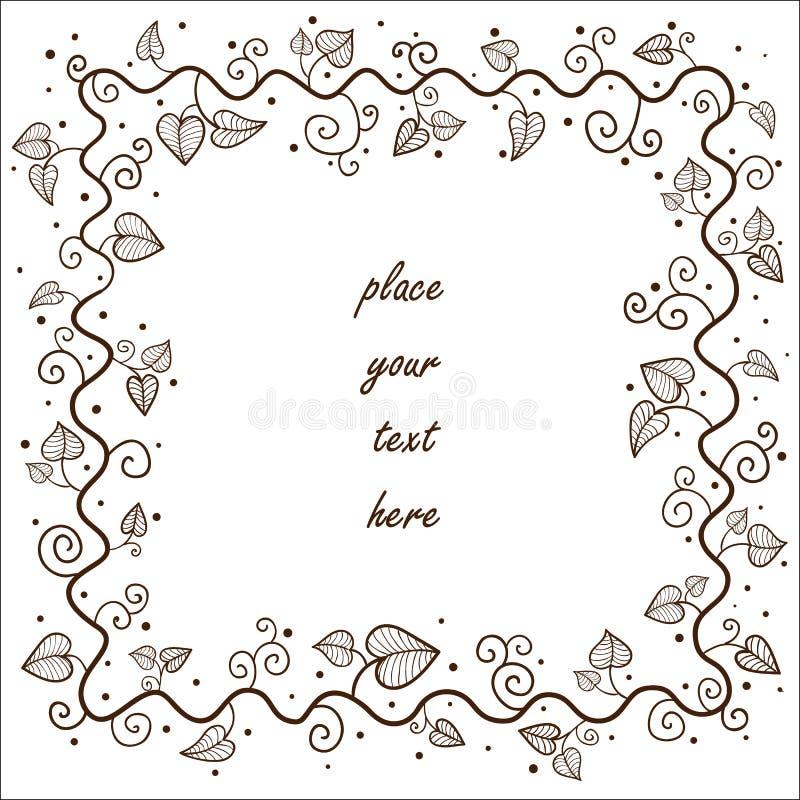Рамка листьев. Концепция поздравительной открытки. иллюстрация штока