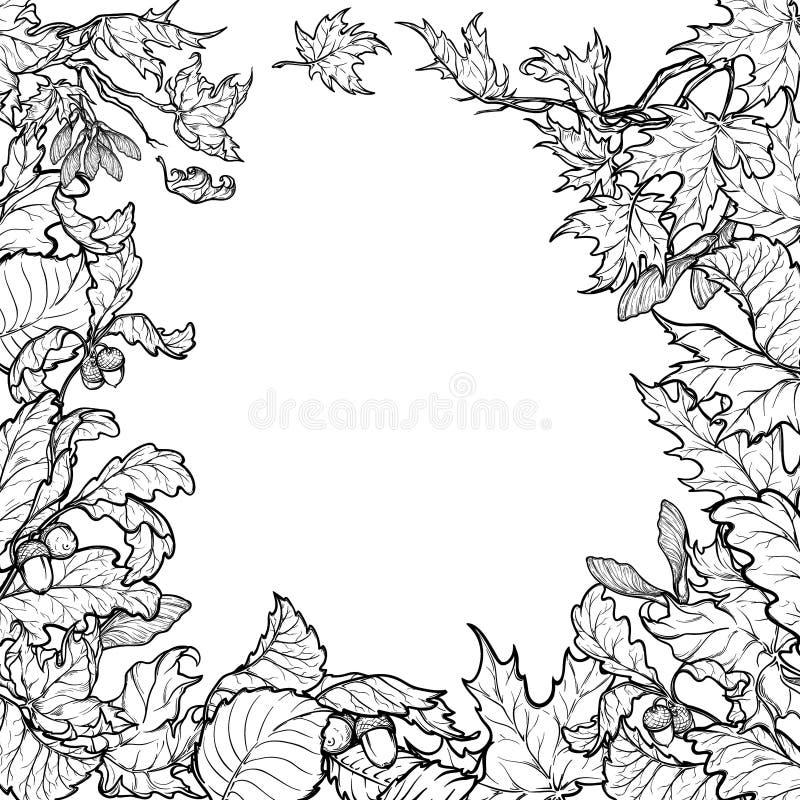 Рамка листьев осени квадратная Черно-белый эскиз иллюстрация штока