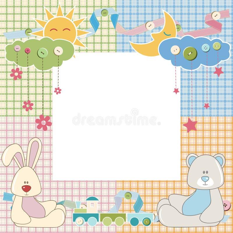Рамка или карточка младенца с кроликом и медведем вектор бесплатная иллюстрация