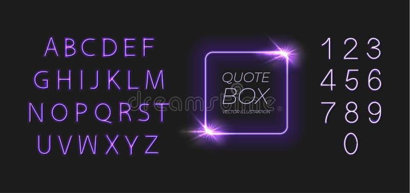 Рамка и шрифт вектора неоновые сияющие, письма и номера установили изолированный на темной предпосылке, пурпурном ярком цвете бесплатная иллюстрация
