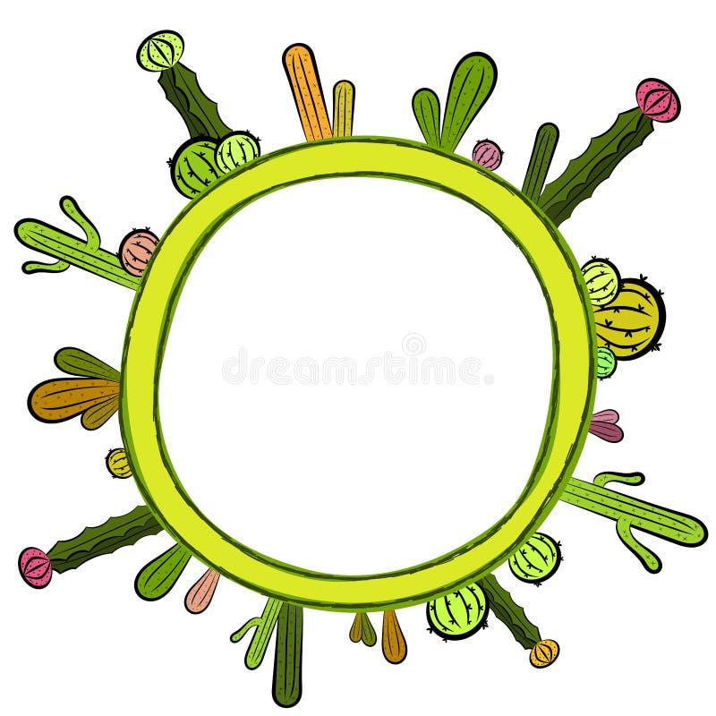 Рамка карточки приглашения кактуса круглая иллюстрация штока