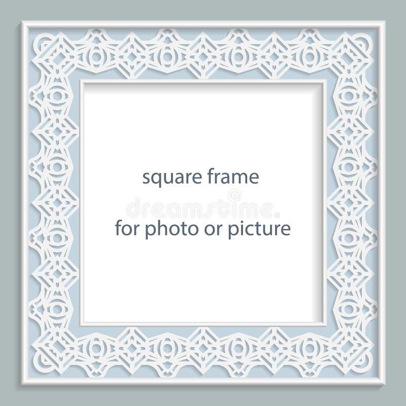 рамка квадрата барельеф вектора 3D для фото или изображение, винтажная виньетка с openwork границей, праздничной картиной, шаблон бесплатная иллюстрация