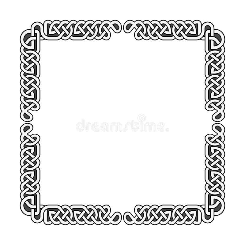 Рамка кельтского вектора узлов средневековая в черно-белом бесплатная иллюстрация