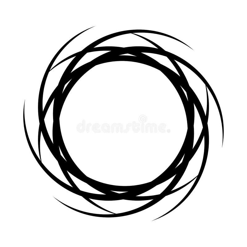 Рамка конспекта круглая черная с щетками для вашего текста r иллюстрация вектора