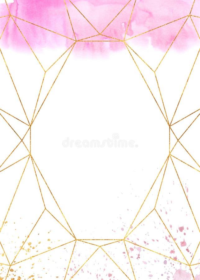 Рамка конспекта пинка акварели геометрическая стоковое изображение rf